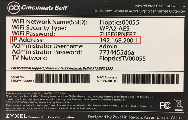 Cincinnati Bell - Fioptics Internet Support - Wi-Fi Setup and Password